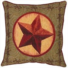 "THROW PILLOWS - ""WESTERN STAR"" TAPESTRY PILLOW - 17"" SQUARE - WESTERN DECOR"