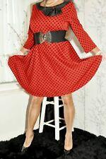 red black spots 50's style dress retro rockabilly uk size 18