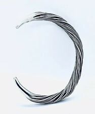 SOLID STERLING SILVER 925 BANGLE WITH A WEAVED COIL DESIGN. GIFT PACKAGED
