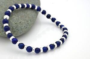 Mens Ladies Bead Bracelet Lapis Lazuli with 925 Sterling Silver Handmade