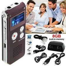 8GB Steel Voice Dictaphone Rechargeable Digital Sound Recorder MP3 Player Record