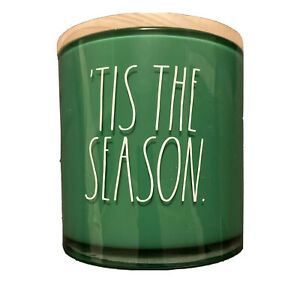 Rae Dunn 'Tis The Season Green 24 Oz. Christmas Candle Frosted Pine Scent HTF LL