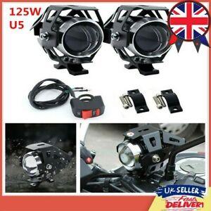 Motorbike Fog Spot Lights 12V 125W LED Motorcycle Headlight Driving Lamp Switch