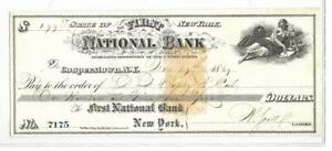 1869 Cooperstown NY 1st National Bank Check - Spectacular!