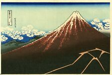 "Striking HOKUSAI Japanese woodblock print: ""THUNDERSTORM BENEATH THE SUMMIT"""