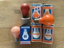 7 Vintage Light Bulbs-Maxim-Crompton-5 With Boxes Orange/Red Bulbs