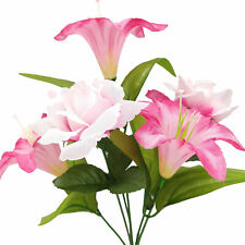 Artificial Silk Lilly Flowers Wedding Valentines Memorial Grave - Pink / White