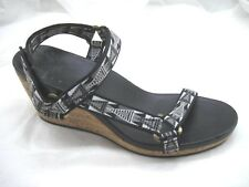 Teva 9.5M black gray cork wedges womens ladies sandals shoes 1011533