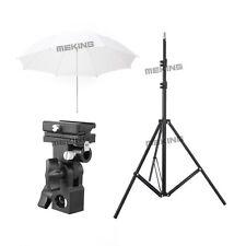 "33"" White Translucent Soft Umbrella Lighting Kit + Light Stand + Flash Bracket B"