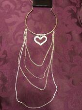 Faux Pearl And Rhinestone Heart Silver Tone Choker Multi Chain Neclace