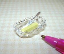 Miniature Glass Butter Dish w/Butter, Knife: DOLLHOUSE Miniatures 1/12 Scale