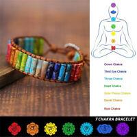 la prière la pierre naturelle 7 chakra bracelet en cuir. perles bracelet tube