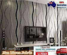10m Non Woven Fabric Wallpaper Black Stripe Home Design Renovation Wall Paper AU