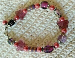 Anklet Pink & Purple Beaded Jewelry with Butterflies / Hand Made Artisan Jewelry