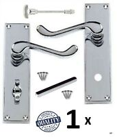 1 x SET Victorian Scroll Polished Chrome Silver Bathroom Door Handles Silver D27