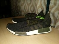 Men's Adidas NMD R1 Primeknit CQ2445 Night Cargo / Green - Size 12