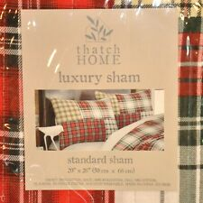 NIP Thatch Home Red Plaid Pair Pillow Shams Standard Size Flannel Look Cotton