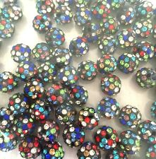 Shamballa Beads 100 Pcs Multi Crystal Pave Disco Balls Fit Bracelet 10MM Black