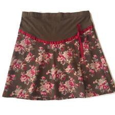 Motherhood Maternity Large Brown Floral Stretch Cotton Adjustable Mini Skirt