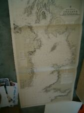 Vintage Admiralty Chart 1824a EAST COAST OF IRELAND & IRISH SEA 1925 edition