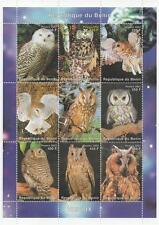 OWL WILD BIRDS REPUBLIQUE DU BENIN 2002 MNH STAMP SHEETLET