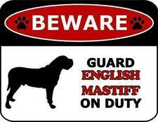 Beware Guard English Mastiff On Duty Dog Sign Sp109