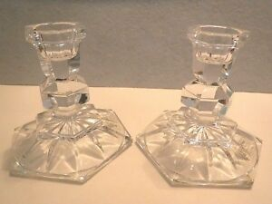 2 TOWLE CRYSTAL CANDLE HOLDER FOR TAPERED CANDLES-VINTAGE - EXCELLENT CONDITION