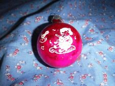 "Vintage Christmas Ornament Red Girl Violin Bird  2 1/2"" High w/o Loop"