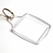 100 BLANK CLEAR PASSPORT SIZE KEYRINGS 45mm x 35mm40 35