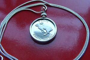 """1967 Canada Coin Rabbit Pendant on a 18"""" 925 Silver Snake Chain"""