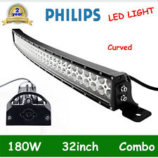 "Philips 32"" 180w LED Work Light Bar Spot Flood CURVED Offroad SUV Jeep Truck RZR"