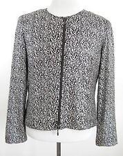 Joseph Ribkoff Brown Metallic Silver Full Zip Jacket Top Size 14