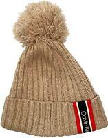 Calvin Klein women's Racer Stripe Ribbed Beige Pom Pom knit Beanie hat $40