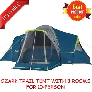 10 Person Family Camping Tent with 3 Rooms and Screen Porch Removable Fly