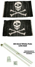 3x5 Jolly Roger Pirate Patch Skull 2ply Flag White Pole Kit Gold Ball Top 3'x5'