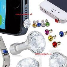 5x Diamond Bling Dust Cap Cover Earphone Jack Samsung Galaxy Note 1/2/3/4/5/Edge