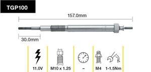 Tridon Glow Plug TGP100 fits Ford Ranger 3.0 TDdi 4x4 (PJ), 3.0 TDdi 4x4 (PK)