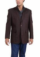 Mens 44L Apollo King Brown Textured Wool Blazer Sportcoat With Removable Mock...