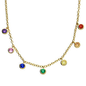 Yellow GOLD Plated 925 SILVER RAINBOW SAPPHIRE NECKLACE