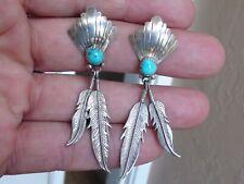 Vintage Silver & Turquoise  Navajo Earrings