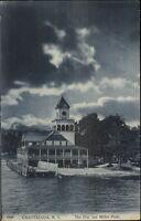Chautauqua NY Pier & Miller Park c1910 Postcard