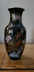 Kutani Imperial Peacock Vase 8 inches tall