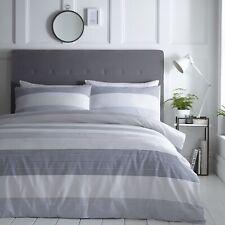Silentnight Seersucker Stripe Duvet Cover and Pillowcase Bedding Set, Denim