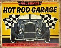 PLAQUE METAL USA  vintage HOT ROD CUSTOMS GARAGE  40 X 30 cm