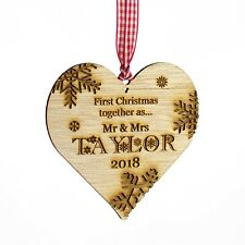 First Christmas Personalised Wooden Heart Tree Decoration. 1st Xmas, Bauble Gift