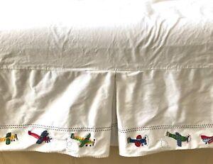 POTTERY BARN Kids Baby Crib Skirt White Airplanes Theme Trim - Cotton