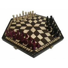 Original Wooden Burned Chess For Three Players Medium Size 40x35x4,5 cm