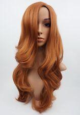 W87 Auburn Dark Ginger Long Wavy Ladies Wig Synthetic Skin Top