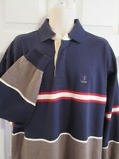 IZOD Men's MEDIUM Blue Red Gray Color Block Polo Rugby Shirt Crest Vintage
