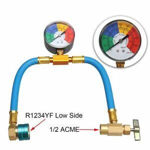 Car Air-conditioning Refrigerant Pressure Charging Hose w/Guage A/C R-1234yf Kit